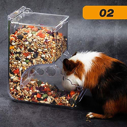 Perfuw Hamster-Futterspender, automatischer Futterautomat, große Kapazität, transparent, Käfigzubehör geeignet für Eichhörnchen, Igel, Meerschweinchen, Style 2