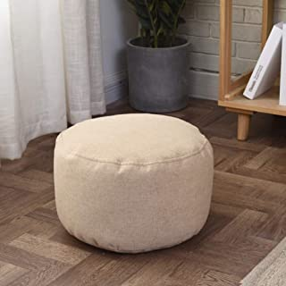 ZAIPP Pouf Ottoman Footstool,Solid Color Bean Bag Floor Chair Comfortable Foot Rest Pouffe Removable for Living Room Bedroom Kids Room-Khaki 35x22cm(14x9inch)