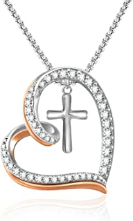 Heart Necklace for Women-14K White Gold Plated You're in My Heart Cross Necklace for Women Girls (1 heart necklace)