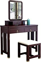 Large Classical Makeup Dressing Table, 2 in 1 Makeup Vanity Desk New Chinese Solid Wood Dressing Table Bedroom Furniture S...