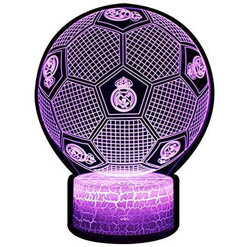 3D Lámpara de Escritorio NHSUNRAY 7 colores LED Touch lámpara de mesa con control remoto para niños cumpleaños regalo de San Valentín de Navidad (Real Madrid football)