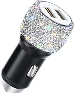 Dual USB Car Charger,SAVORI Car Adapter Bling Bling Rhinestones Crystal Car Decorations for Fast Charging Car Decors for iPhone Xs Max X Plus, iPad Pro/Mini, Samsung (Bling White)