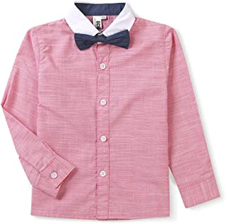 OCHENTA Boy's Short Sleeve Button Down Dress Shirt, Gentleman Outfits with Bowtie