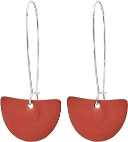 Red Patina Geometric Half Moon Long Drop Earrings