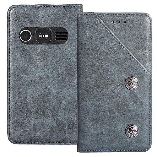 TienJueShi Blau Flip Brief Tasche Hülle Schütz Hülle Doro 1360 1361 1362 2.4 inch Echt Leder TPU Silikon Stand Handy Abdeckung Premium Wallet Cover Etui