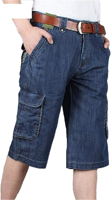 Yiqinyuan Men Casual Shorts Summer Casual Jeans Shorts Men Denim Trousers Fashion Multi-Pocket Short Big Size Dark Blue 36