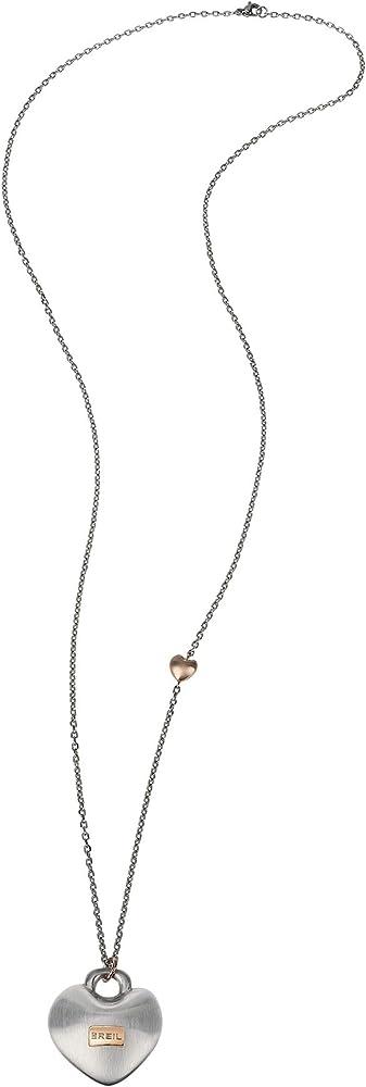 Breil,collana per donna,con pendente a forma di cuore con finitura satinata,in acciaio,misura 80cm TJ2735