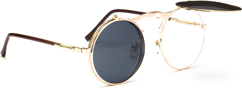 717098ee8 Vintage Steampunk Designer Designer Designer Metal Retro Sunglasses Round  3ce420