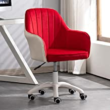 Ergonomic Chair with Backrest Computer Chair Home Study Liftable Swivel Chair, Student 360°Rotating Desk Chair, Flannel+PU Leather Seat
