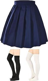 Elibelle Women's Adjustable Waist Tartan Pleated School Skirt with 2 Pairs Socks