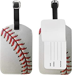 ALAZA Baseball Luggage Tag for Baggage Suitcase Bag Leather 1 Piece