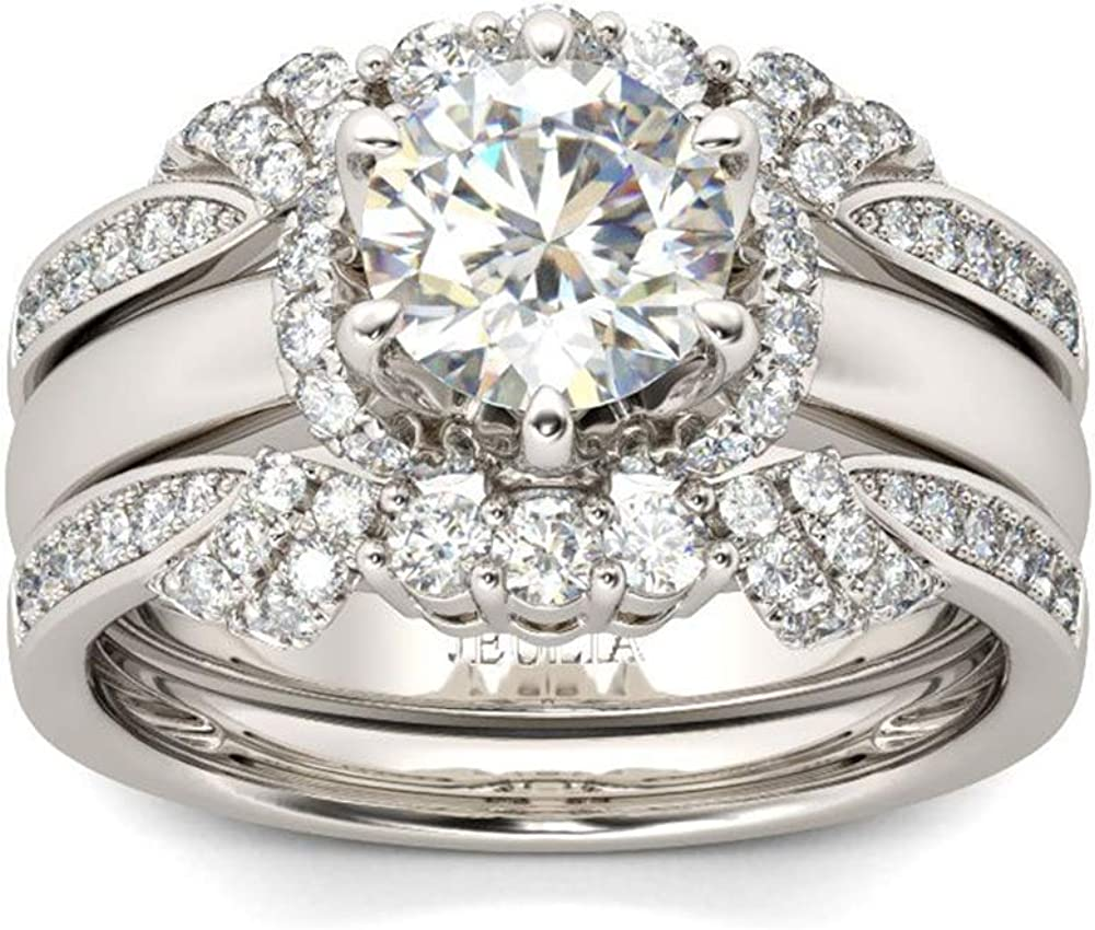 Max 71% OFF Jeulia 5 ☆ very popular 3PC Ladies Classic Round Cut Silver En Sterling Set Rings