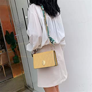 ZZZ Small Square Bag Fashion Korean Version Of The Hit Color Chain One Shoulder Wild High-end Slanting Scarf Scarf Women Bag fashion (Color : Yellow)