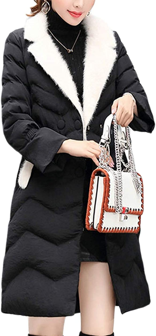 Uaneo Women's Mid Long Slim Fur Lapel Collar Quilted Puffey Jacket Winter Coat(Black-L)