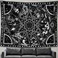 "Zussun 12 Constellation Tapestry Star Sun Tarot Tapestry Black and White Hippy CelestialBohemian Home Decor (50"" x 60"")"