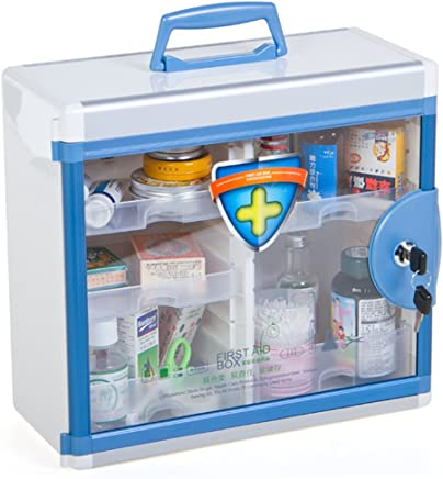featured product Glosen First Aid Box Lockable Medicine Box with Wall Mounted Function 13.6x6.5x12.4 Inch Blue