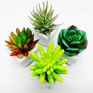 4点セット人工多肉植物 ミニ 人工観葉植物 枯れない インテリア 白い正方形 プレゼント観葉植物 室内 ホーム 庭 装饰 デコレーション