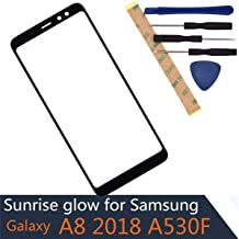 A530F Outer Glass Screen Compatible with Samsung Galaxy A8 2018 Front Glass Screen Front Panel Black