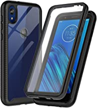 SunRemex Three Defense Designed for Moto E6 Case,Crystal Clear Full Body Shockproof Slim Fit Built-in Screen Protector Cover for Motorola Moto E6 Phone (Clear/Black)