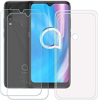TTJ Transparent skal för Alcatel 1SE 2020 [2 stycken] HD pansarglas, mobiltelefonfodral silikon skyddande fodral TPU fodra...