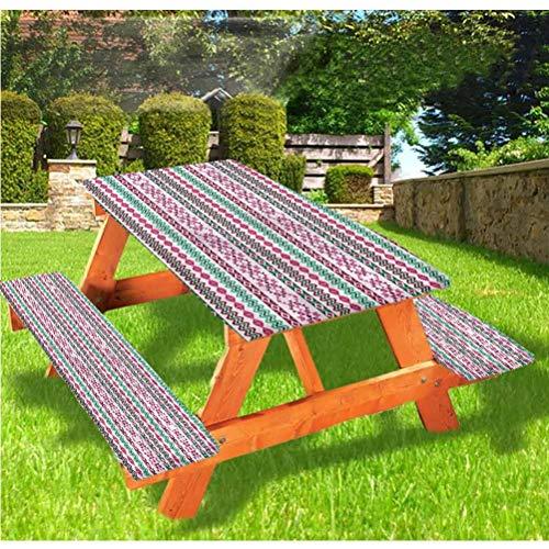 Mantel ajustable para mesa de picnic y banco, estilo indígena Art Diamond Forms, mantel de borde elástico, 28 x 72 pulgadas, juego de 3 piezas para camping, comedor, exterior, parque, patio