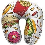 Forma De U Almohada,Burger Cola Cup Straw Papas Fritas Ketchup Funda Lavable Funda para El Cuello,Soporte para El Cuello Head Pillow para Coche,Tren,Cama,Oficina,Autobús,Avión
