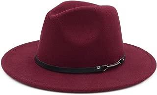 Melesh Wide Brim Unisex Classic Belt Buckle Fedora Hat