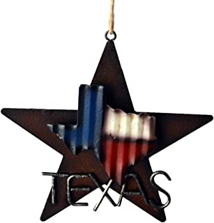 AR Country Store Western Rustic Lone Star 3-D Texas Map Christmas Ornament - Metal/Tin - or Tree or Wall Hanging