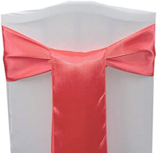 AMERRY 10PCS 17X275CM Wedding Chair Decorations Satin Sash Chair Bow Cover for Party Ceremony Reception Banquet Spandex Chair Covers slipcovers (Coral)