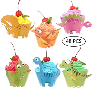 CCINEE Dinosaur Birthday Party Cupcake Wrappers 48 pcs Kids Birthday Party Supplies