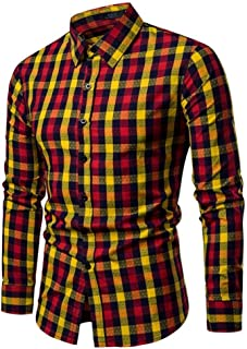 Soft and Close Color Cotton Men's Long-Sleeved Shirt, Men's Casual Plaid Shirt Spring Button wl (Color : Yellow, Size : XL)