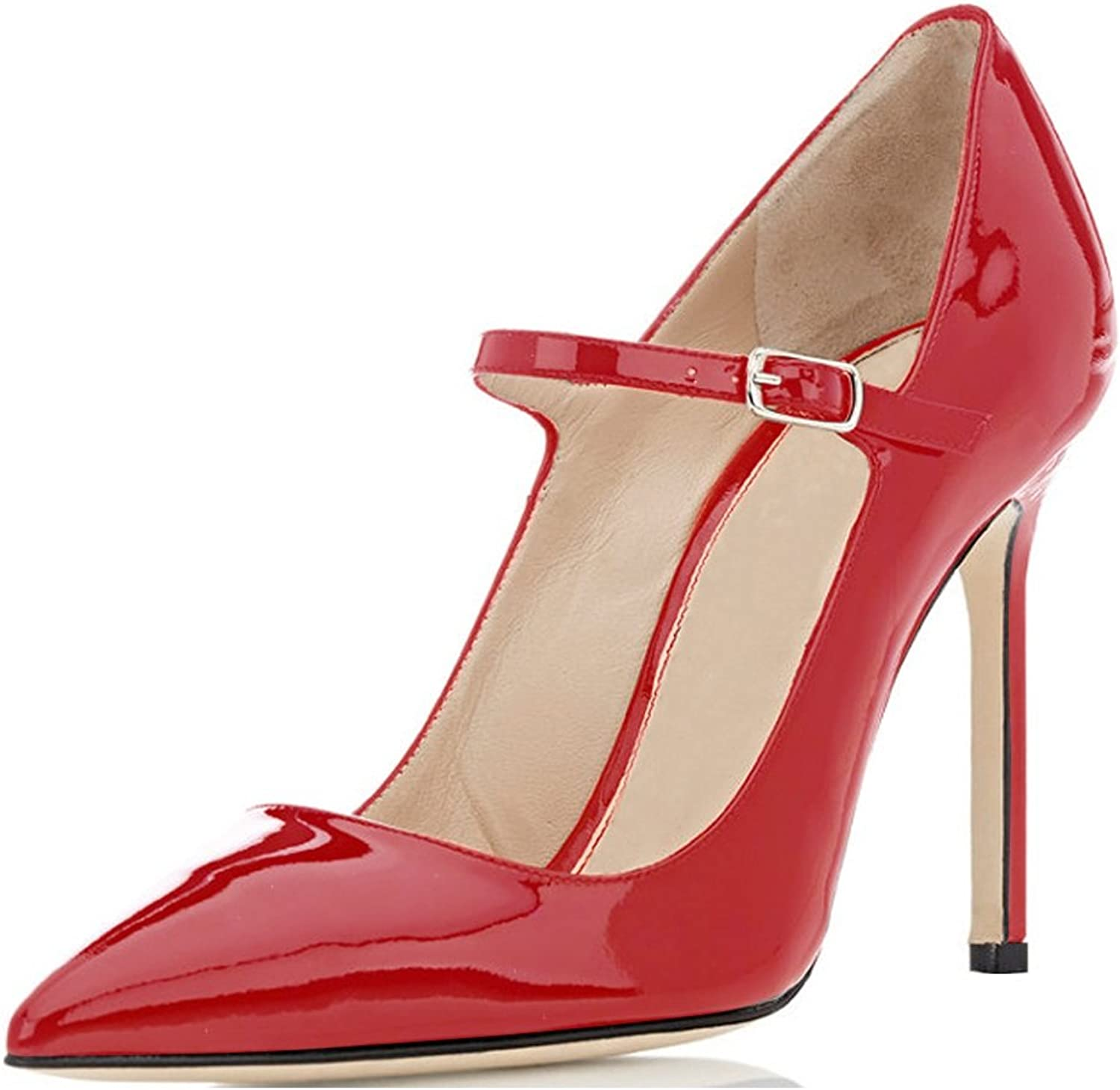Sammitop Women's Pointed Toe Mary Jane Pumps High Heel shoes with Ankle Strap