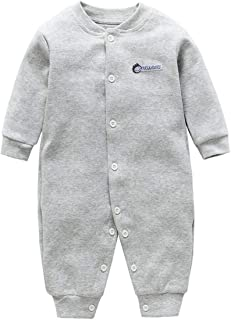 ALLAIBB Long Sleeve Round Neck Solid Color Cotton Romper Bodysiut for Unisex Baby