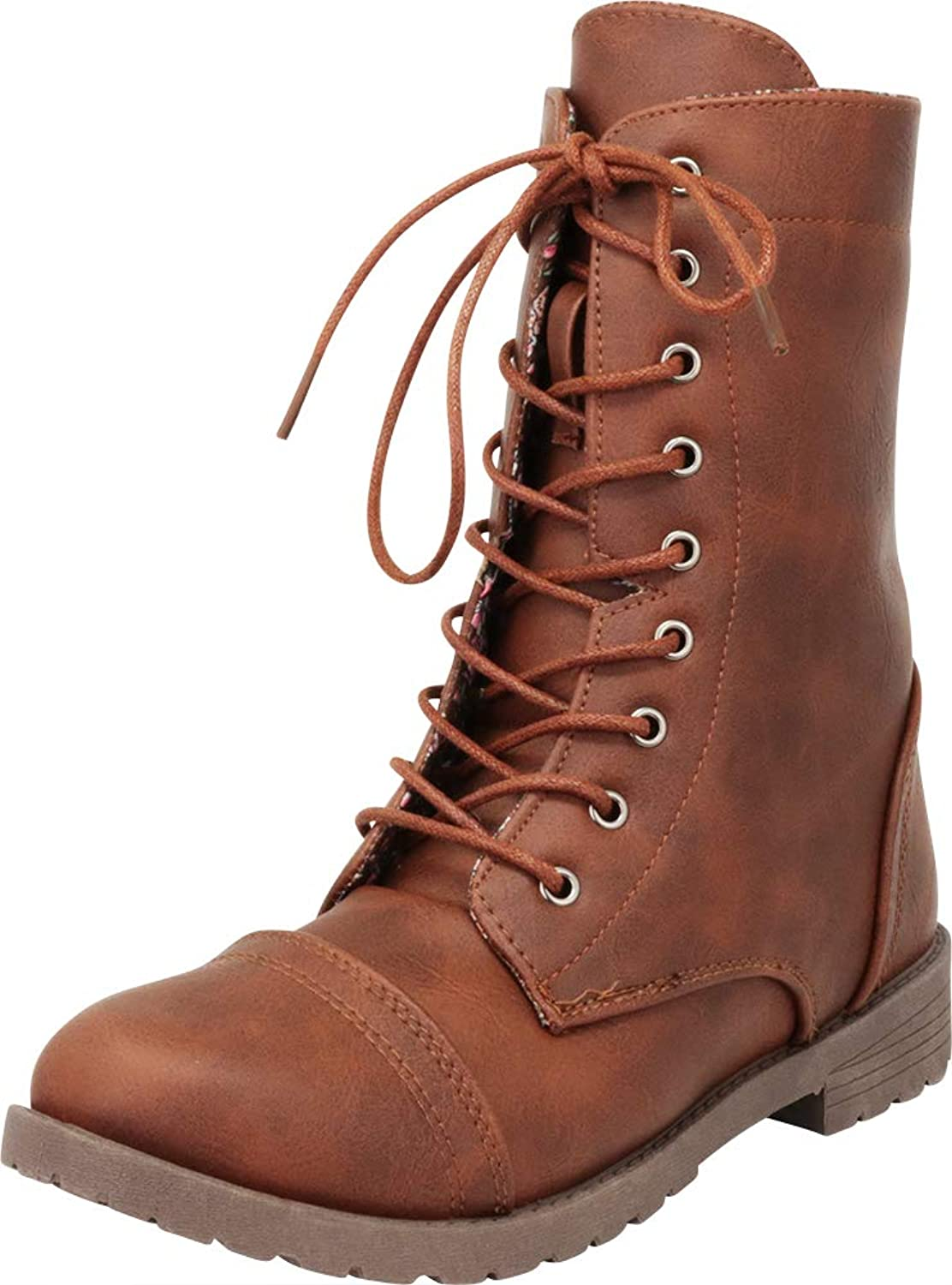 Cambridge Select Women's Classic 90s Lace-Up Chunky Lug Sole Combat Boot