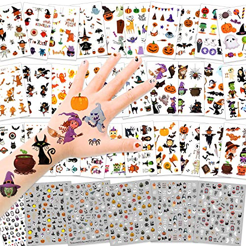 HOWAF 36 Hojas Halloween Tatuajes Temporales Niños Niñas Nail Art Stickers Halloween 3D Uñas Pegatinas Manicura Tatuajes para Niños Halloween Maquillaje Disfraz Artículo Decoración