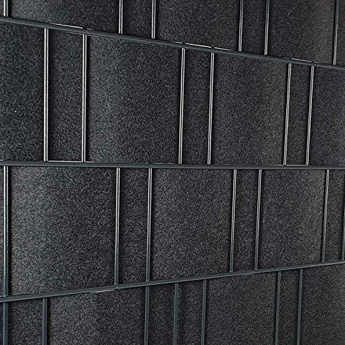 PerfectHD Zaunsichtschutz | Sichtschutzstreifen für Doppelstabmattenzaun | Windschutz Sonnenschutz Blickdicht | Polyester Gewebe | PVC frei | Nachhaltig | 26m Rolle | 19cm | Anthrazit | Milano