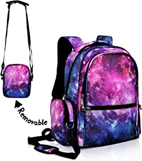Galaxy Backpack for Boys Girls Purple School Bookbags Water Resistant with Removable Shoulder Bag Rucksack