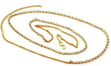ACCESSHER White Brass Single Line Stone Waist Hoop Kamarband for Women