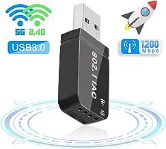 FAGORY WiFi USB 3.0 Antena Adaptador 1200Mbps Mini WiFi Receptor Banda Dual 2.4G / 5GHz, para PC Desktop Laptop Tablet, Soporta Windows 7/8 / 8.1/10 / Mac OS 10.7-10.12 / Mac OSX