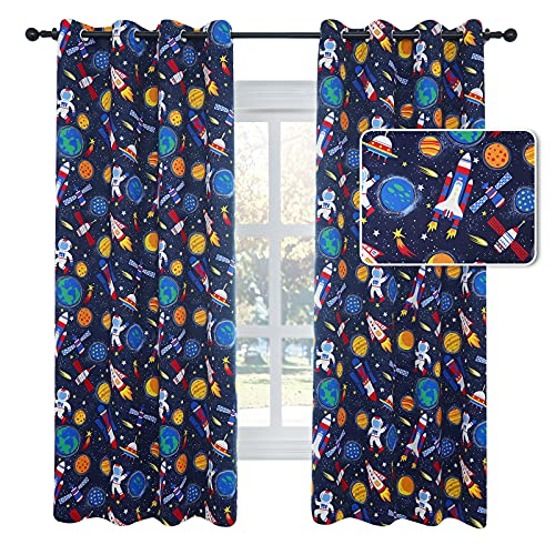 Drewin Blackout Curtains for Kids Room Interstellar Journey Themed Window Curtain Boys Bedroom Darkening Thermal Insulated Drapes 2 Panels Nursery Decor, Blue 52x63 Inches