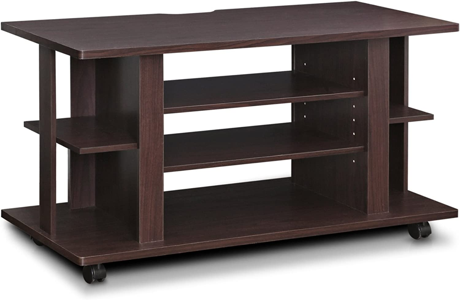 Furinno Indo FL-1000EX 4-Tier Low Rise Tatami TV Stands with Casters, Espresso