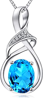 HXZZ Fine Jewelry Natural Gemstone Gifts for Women Sterling Silver Swiss Blue To