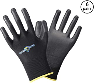 Golden Scute 6 Pairs PU Coated Touchscreen Black Polyester Safety Work Gloves, Men& Women 13 Gauge Polyurethane Gloves for Precision Work (Large/Size 9)