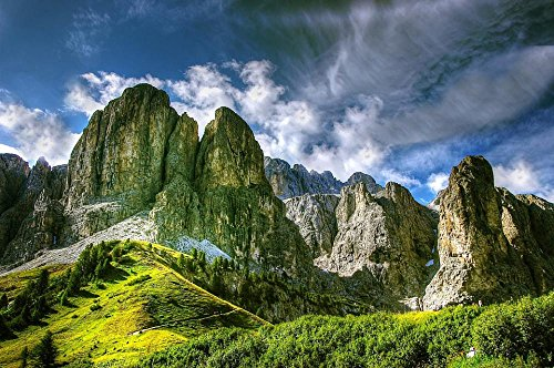 LAMINATED 36x24 Poster: Dolomites Mountains Italy South Tyrol View Alpine Val Gardena Hiking Nature Rubble Field Unesco World Heritage Clouds Panorama Rock Val Gardena Yoke Climb Steep