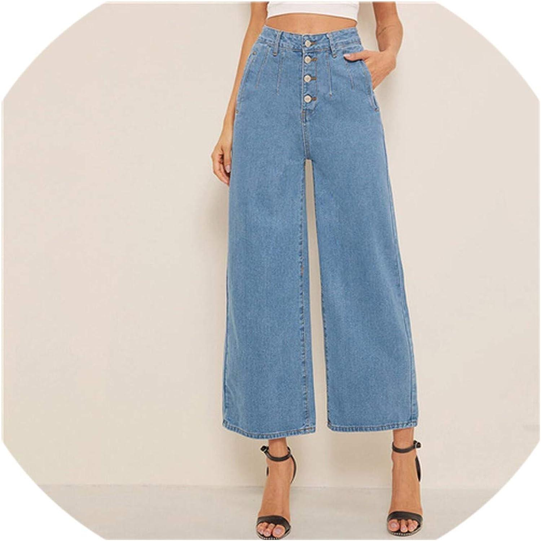 bluee Button Fly Loose Wide Leg Denim Jeans Women Solid High Waist Crop Casual High Street Ladies Jeans