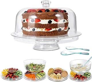 پایه کیک MASTERTOP با روکش گنبد - بشقاب غذاخوری چند منظوره / بشقاب کیک / ظرف سالاد / ظرف ناچوس / پانچ ، پایه کیک عروسی برای میز دسر ، 2 عدد قاشق ، BPA رایگان (اکریلیک)