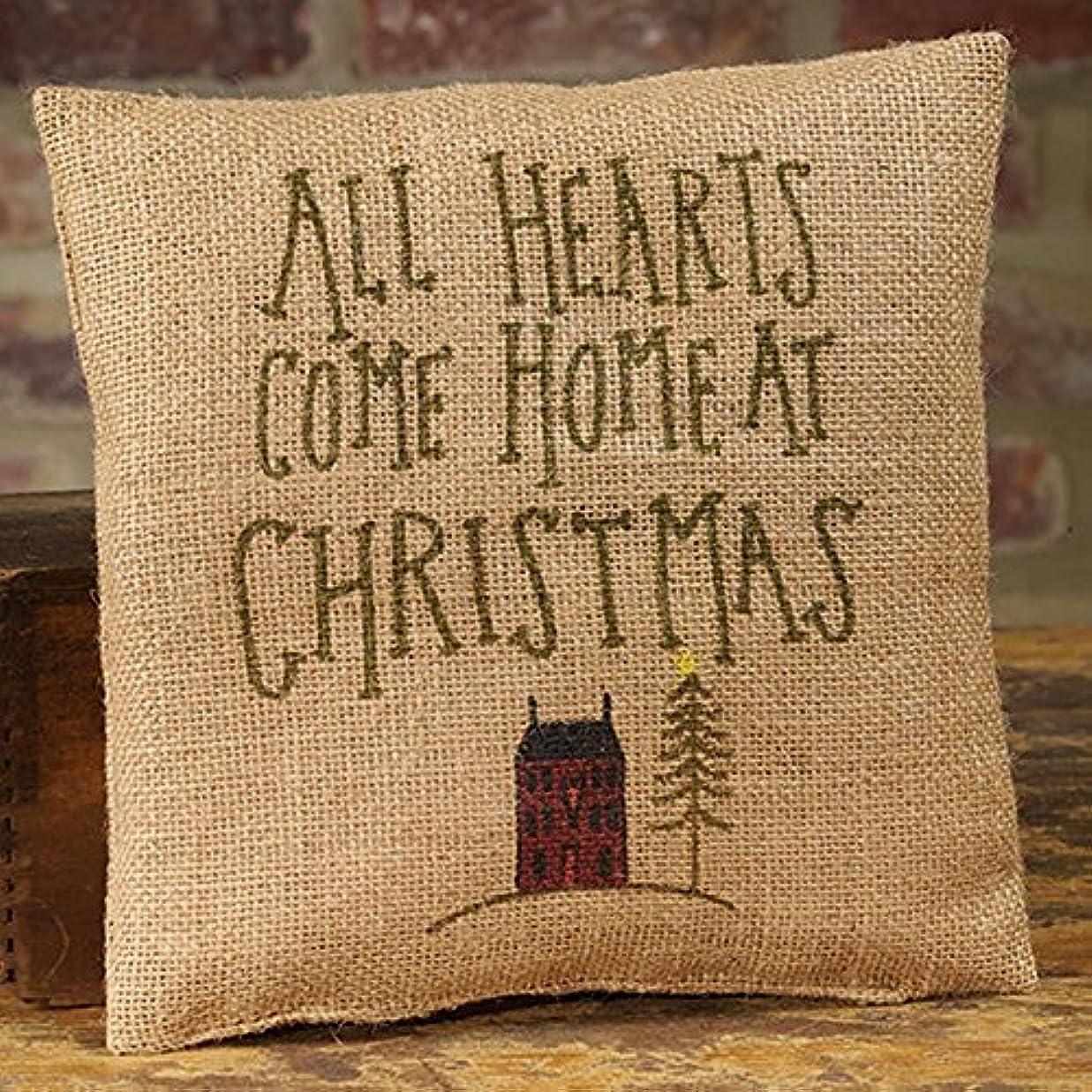 神話発掘する開示するThe Country House Collection Hearts Come Home at Christmas 8 x 8 Burlap Decorative Throw Pillow [並行輸入品]