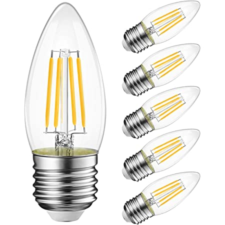 B11 Led Filament Bulb E26 Candelabra Base 4 5w 60w Equivalent Lvwit Dimmable 2700k Warm White Chandelier Decorative Candle Light Bulb 6 Pack