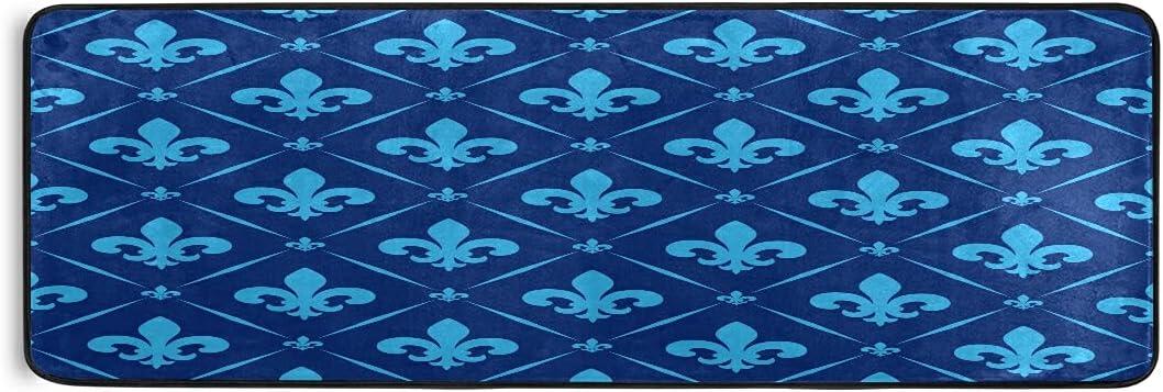 Blue Fleur De Lis Runner Rug Kitchen Now OFFicial shop on sale Bath Door Rugs Laundry Mats