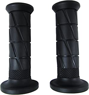 Black Soft Rubber Open End Motorcycle Handlebar Grips Pair for Kawasaki KZ750, KZ900